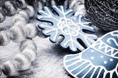 Christmas decorations in silver and blue tone Royalty Free Stock Photos