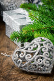 Christmas decorations in silver tone Royalty Free Stock Photography