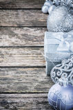 Christmas decorations in silver tone Royalty Free Stock Image