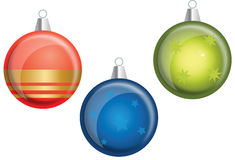 Christmas decorations. Simple colourful hanging decorations with stars and lines Royalty Free Illustration