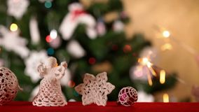 Christmas decorations sliding out of frame stock footage