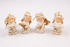 Christmas decorations. Small figures of angels Royalty Free Stock Image