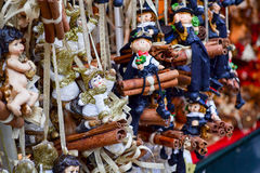 Christmas decorations - small toy puppets Royalty Free Stock Photography
