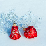Christmas decorations on snow Royalty Free Stock Photography