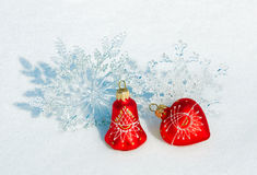 Christmas decorations on a snow royalty free stock images