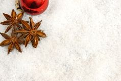 Christmas decorations in the snow Stock Image