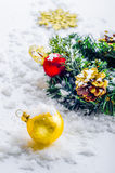 Christmas decorations. In the snow Stock Photo