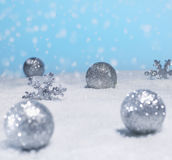 Christmas Decorations in Snow Royalty Free Stock Photo