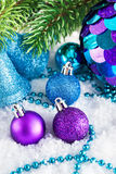 Christmas decorations on the snow Royalty Free Stock Photos