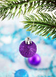 Christmas decorations on the snow Royalty Free Stock Photo