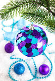 Christmas decorations on the snow Royalty Free Stock Photography