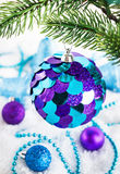 Christmas decorations on the snow Royalty Free Stock Image