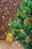 Christmas decorations  with snow Royalty Free Stock Photos