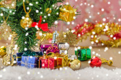 Christmas decorations  with snow Royalty Free Stock Photo