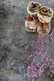 Christmas decorations - snow boots and sequins Stock Photos