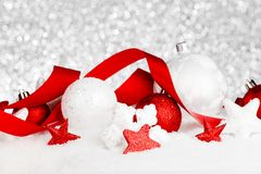 Christmas decorations in snow Stock Image