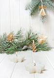 Christmas decorations with snow covered twigs Stock Images