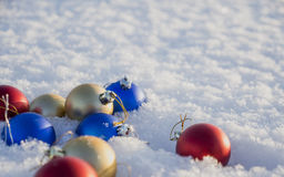 Christmas decorations in the snow. Frosty sunny day Royalty Free Stock Images
