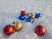 Christmas decorations in the snow. Frosty sunny day Royalty Free Stock Photography