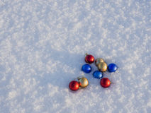 Christmas decorations in the snow. Frosty sunny day Stock Photography