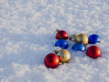 Christmas decorations in the snow. Frosty sunny day Stock Photos