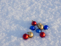 Christmas decorations in the snow. Frosty sunny day Stock Photo