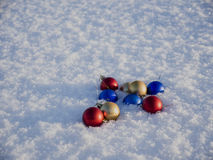 Christmas decorations in the snow. Frosty sunny day Stock Image