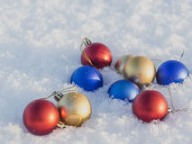 Christmas decorations in the snow. Frosty sunny day Royalty Free Stock Image