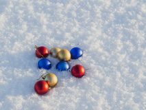 Christmas decorations in the snow. Frosty sunny day Stock Images