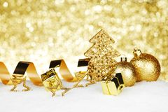 Christmas decorations on snow Royalty Free Stock Photos