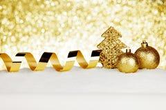 Christmas decorations on snow Stock Image