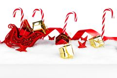 Christmas decorations on snow Royalty Free Stock Image