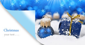 Christmas decorations in snow. Stock Image
