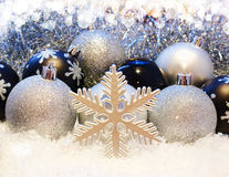 Christmas decorations with snow Stock Image
