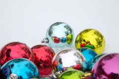 Christmas decorations on snow Royalty Free Stock Images