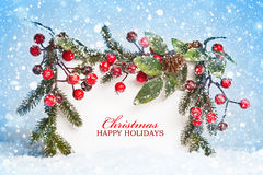 Christmas decorations with snow royalty free stock photography