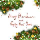 Christmas decorations with snow and stars on white background. Lettering Merry Christmas and Happy New Year with holiday decorations on white background Stock Photography
