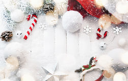 Christmas decorations with snow Royalty Free Stock Image
