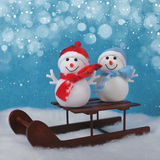Christmas decorations and snow stock photos