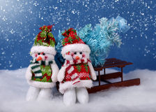 Christmas decorations and snow royalty free stock photo