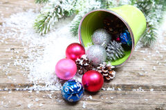 Christmas decorations in the snow Royalty Free Stock Photo