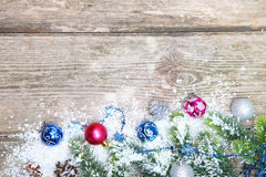 Christmas decorations in the snow Royalty Free Stock Photos
