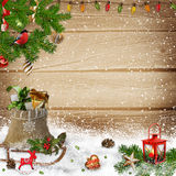 Christmas decorations on snow wooden background stock illustration