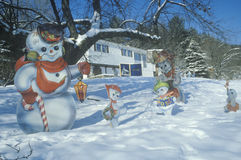 Christmas decorations in snow, Woodstock, NY Stock Photography