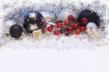 Christmas decorations with snowflake border Royalty Free Stock Images