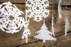 Christmas decorations snowflake ,christmas tree paper hanging ov Royalty Free Stock Photography