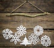 Christmas decorations snowflake ,christmas tree paper hanging ov Stock Photos