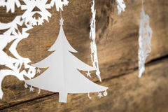 Christmas decorations snowflake ,christmas tree paper hanging ov Royalty Free Stock Photo