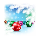 Christmas decorations and snowflakes Stock Photography