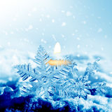 Christmas decorations snowflakes and fire Stock Photo